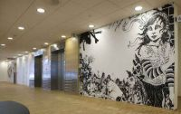 No title 1 - 2008. Permanent  walldrawing at Ackershus (Nye Ahus) Oslo, Norway Dimension of wall: 365x255 cm. Acrylics, Poscapen, varnish.