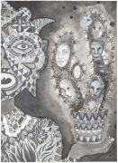 'Grey Area': THE CACTI / KAKTUSSEN  - 2015, 36 x 26 cm., Ink, pencil, salt on paper.