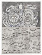'Grey Area': THE SEA MONSTER / SØUHYRET  - 2016, 76 x 57 cm., Ink, pencil, salt on paper.