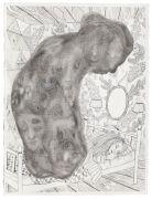 'Grey Area': THE SLEEP / SØVNEN   - 2016, 76 x 57 cm., Ink, pencil, salt on paper.