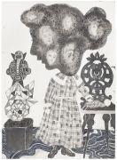 'Grey Area': THE SCULPTURE / SKULPTUREN  - 2015, 36 x 26 cm., Ink, pencil, salt on paper.