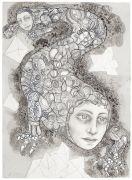 'Grey Area': THE CREATURE / VÆSNET  - 2016, 36 x 26 cm., Ink, pencil, salt on paper.