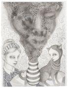 'Grey Area': THE VASE / VASEN - 2016, 76 x 57 cm., Ink, pencil, salt on paper.