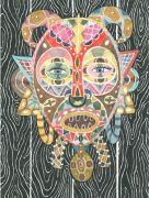 Mask - 2015, 31 x 23 cm., Akvarel, tusch og blyant på papir.