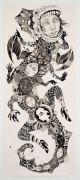 Monster nr. 2 (Lizard) - Tusch og blyant på papir. 2018. 70x171 cm