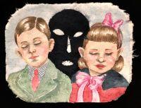 Boy, Girl and Shadow - 32x41,5 cm, Akvarel og tusch på japanpapir, 2019