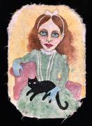 Unknown Girl with cat - 30,5x21 cm, Akvarel og tusch på japanpapir, 2019