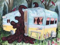 """Camping - 2020, Akvarel på papir.  Fra udsmykningen """"Erindringsvæg"""""""