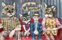 """Den Røde sofa - 2020, Akvarel på papir.  Fra udsmykningen """"Erindringsvæg"""""""