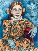 Empty Blue Hands - 2020, 41x31 cm, Akvarel på papir