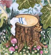 """Træstub med strømpe - 2020, Akvarel på papir.  Fra udsmykningen """"Erindringsvæg"""""""
