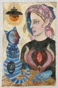 Cat Lady -  2021, 80 x 51 cm., Syet papircollage: akvarel, tusch, sytråd, yume papir.