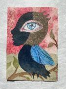 Blue Bird -  2021, 21,5x 15,5 cm., Syet papircollage: akvarel, tusch, sytråd, yume papir.