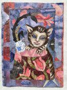 Cats and Flowers -  2021, 52 x 39 cm., Syet papircollage: akvarel, tusch, sytråd, yume papir.