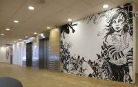 No title 1 - 2008. Permanent  walldrawing at Ackershus (Nye Ahus) Oslo, Norway Dimension of wall: 365x255 cm. Acrylics, Poscapen, varnish.