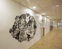 No title 2 - 2008. Permanent walldrawing at Ackershus (Nye Ahus) Oslo, Norway. Dimension of wall: 365x255 cm. Acrylics, Poscapen, varnish.