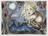 Night Creature - 30x49 cm. Watercolour on paper
