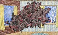 No Title (Fever) - 115 x 185 cm. Akvarel, blyant og filtpen på papir.