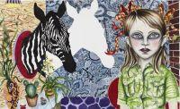 No Title (Zebra Shadow) - 115x185 cm. Akvarel og blyant på papir
