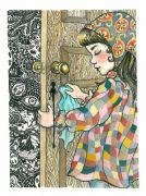 Little Mummy 2_(The Door) - 2011, akvarel og filtpen på papir, 38 x 30 cm.