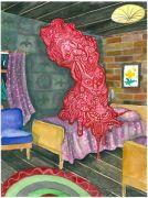 The_Hotel_Room - 2011, akvarel og filtpen på papir, 38 x 30 cm.