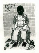 Boy_sitting - _2013, 23 x 31 cm. Indian Ink and felt-tip pen on paper.