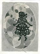 Girl_in_oval_shape - _ 2013, 23 x 31 cm. Indian Ink and felt-tip pen on paper.