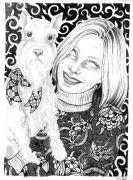 Dog_Owner - _ 2014, 31 x 23 cm., tush og blyant på papir.