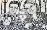 Family - _ 2014, 115 x 178 cm., tush, akvarel og blyant på papir.